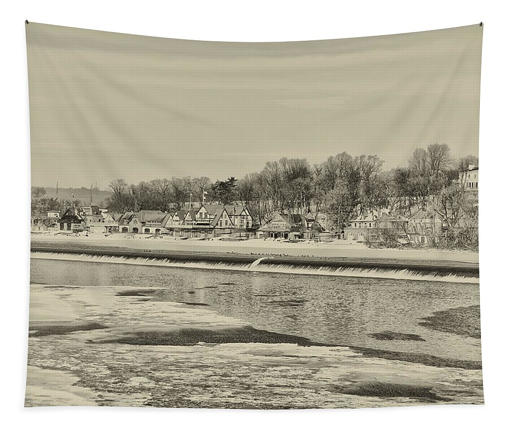 Frozen Tapestry featuring the photograph Frozen Boathouse Row In Sepia by Bill Cannon