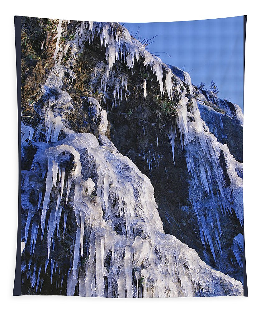 Oregon Tapestry featuring the photograph Frozen Waterfall On Oregon Central Coast by Mick Anderson