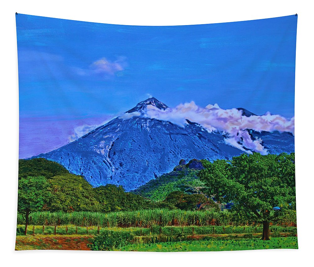 Volcano Tapestry featuring the painting Fuego Volcano Guatamala by Deborah Boyd