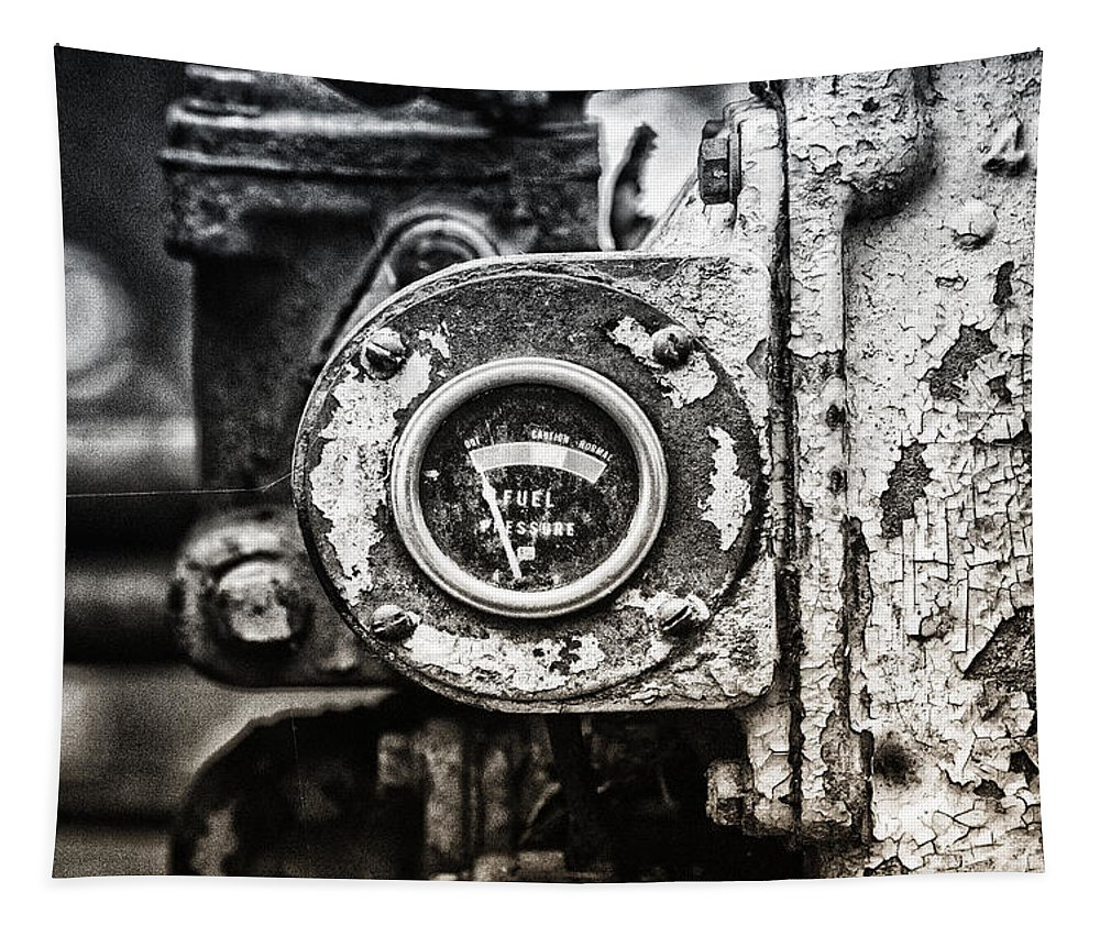 Caterpillar Bulldozer Tapestry featuring the photograph Fuel Deficient by Susan Capuano