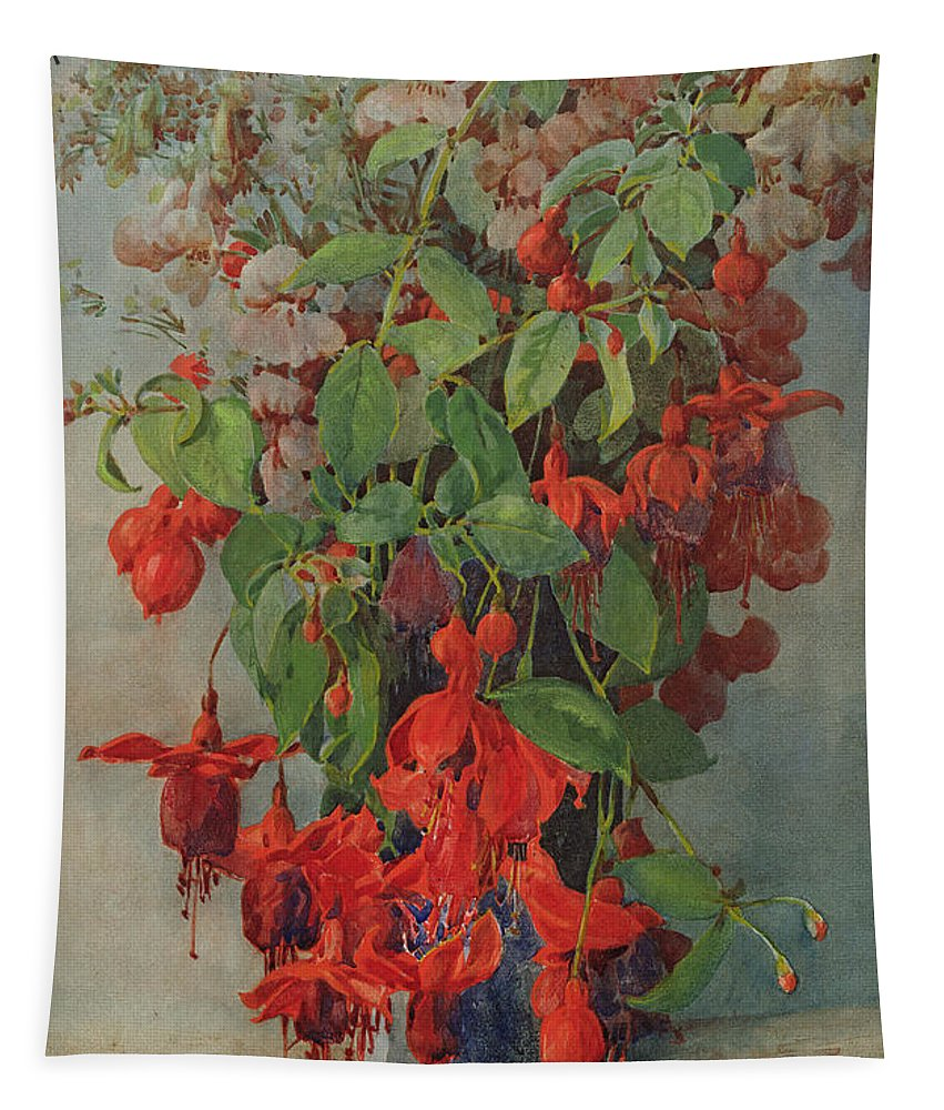 Fuchsia And Snapdragon In A Vase Tapestry featuring the painting Fushia And Snapdragon In A Vase by William Jordan