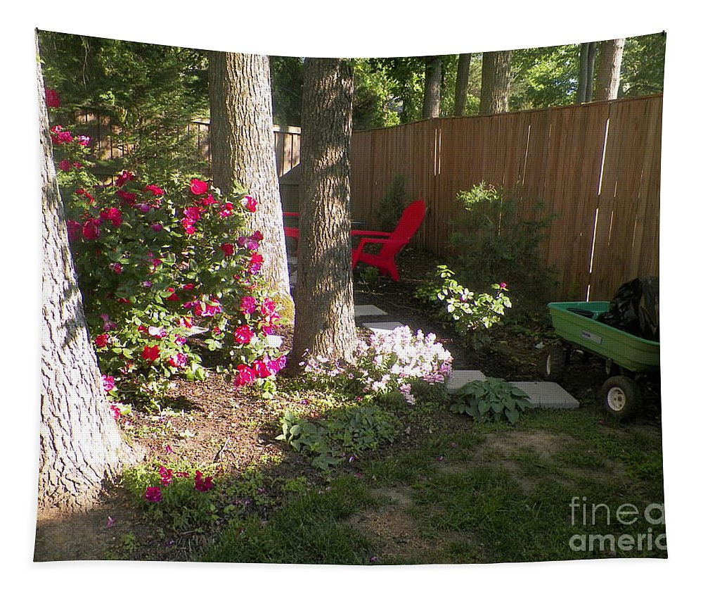Wagon Trees Chair Tapestry featuring the photograph Garden Cleanup by Elinor Helen Rakowski