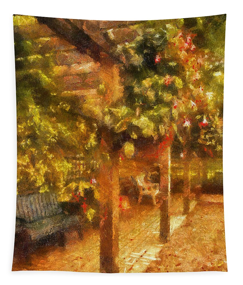 Bench Tapestry featuring the photograph Garden Flowers With Bench Photo Art 01 by Thomas Woolworth