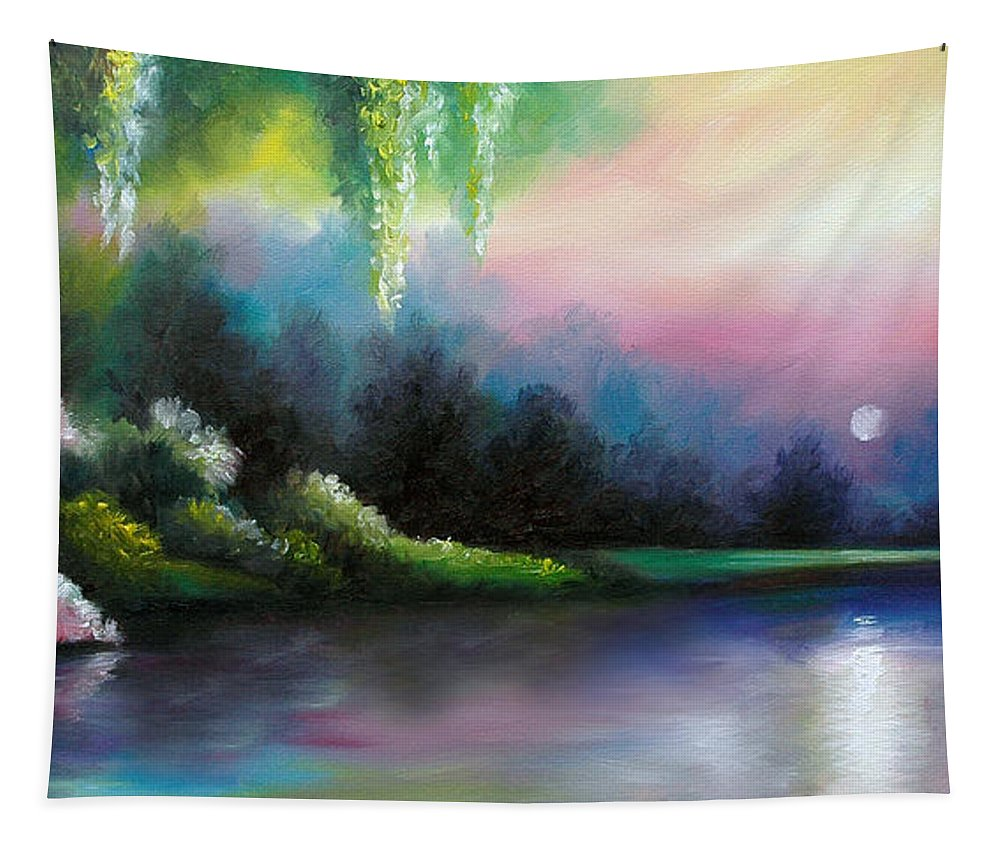 Sunrise Tapestry featuring the painting Garden of Eden I by James Christopher Hill