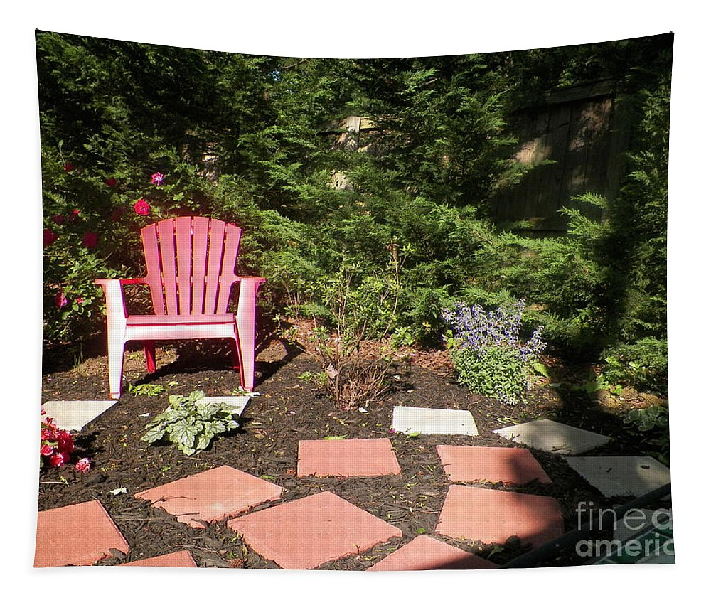 A Chair Red And Gray Pavers Flowers Tapestry featuring the photograph Garden Of One by Elinor Helen Rakowski