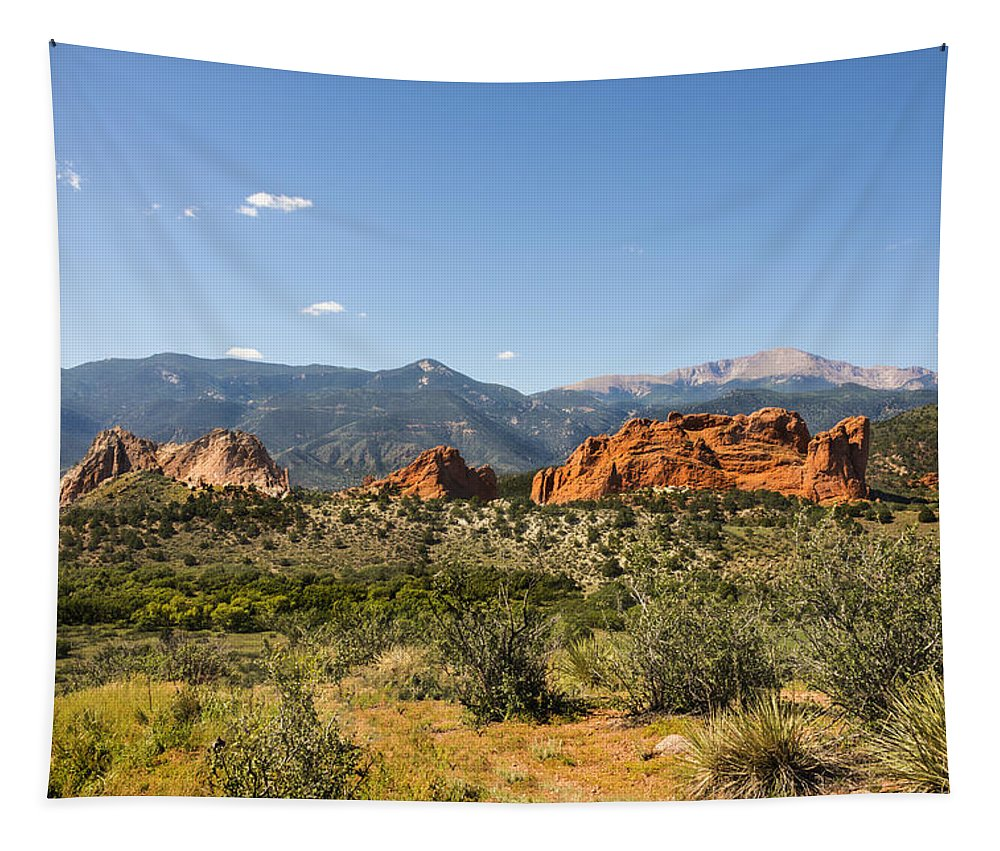 Garden Of The Gods Park Colorado Springs Pikes Peak Kissing Camels Landscape Tapestry featuring the photograph Garden Of The Gods And Pikes Peak - Colorado Springs by Brian Harig