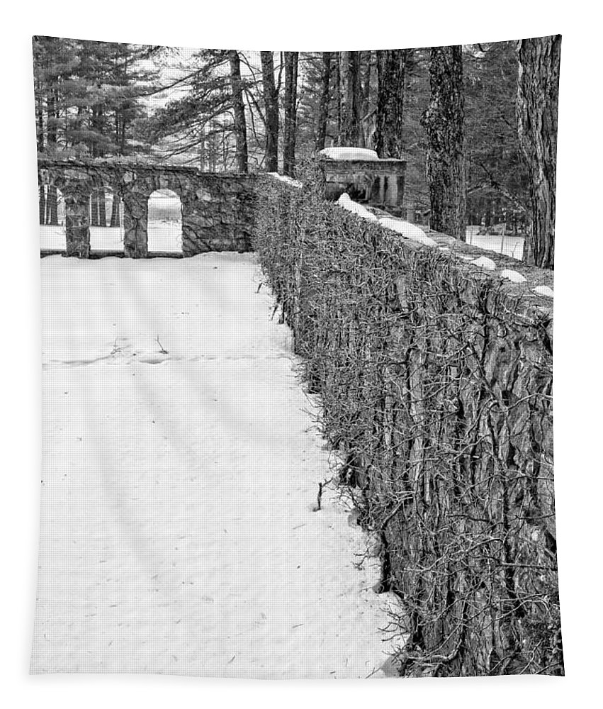 House Tapestry featuring the photograph Garden Wall The Mount In Winter by Edward Fielding