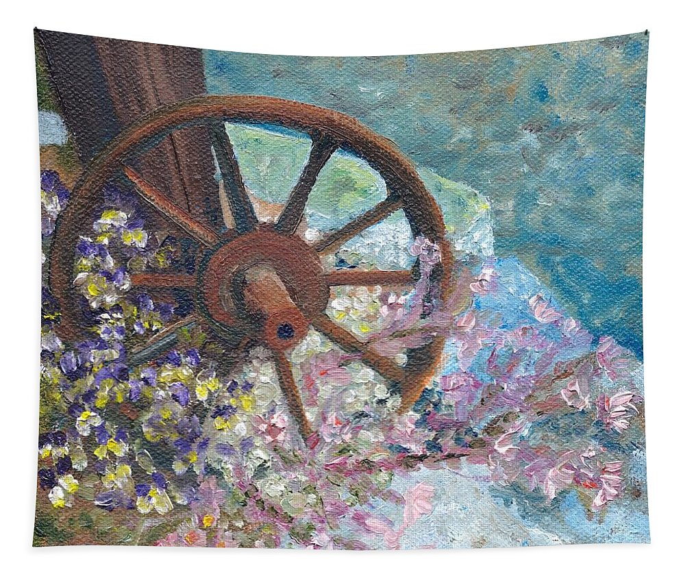Wheel Tapestry featuring the painting Garden Wheel by Susan Hanna