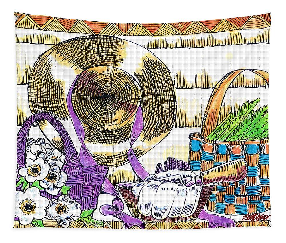 Gardener's Basket Tapestry featuring the drawing Gardener's Basket by Seth Weaver