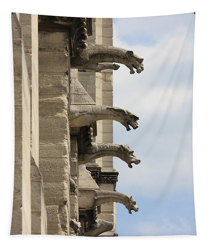 Gargoyles Tapestry featuring the photograph Gargoyles Of Notre Dame by Carol Groenen