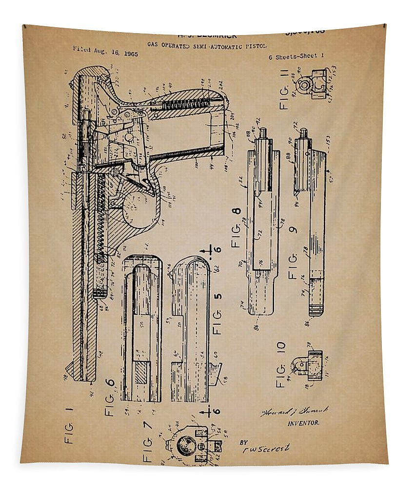 Patent Tapestry featuring the drawing Gas Operated Semi-automatic Pistol by Mountain Dreams