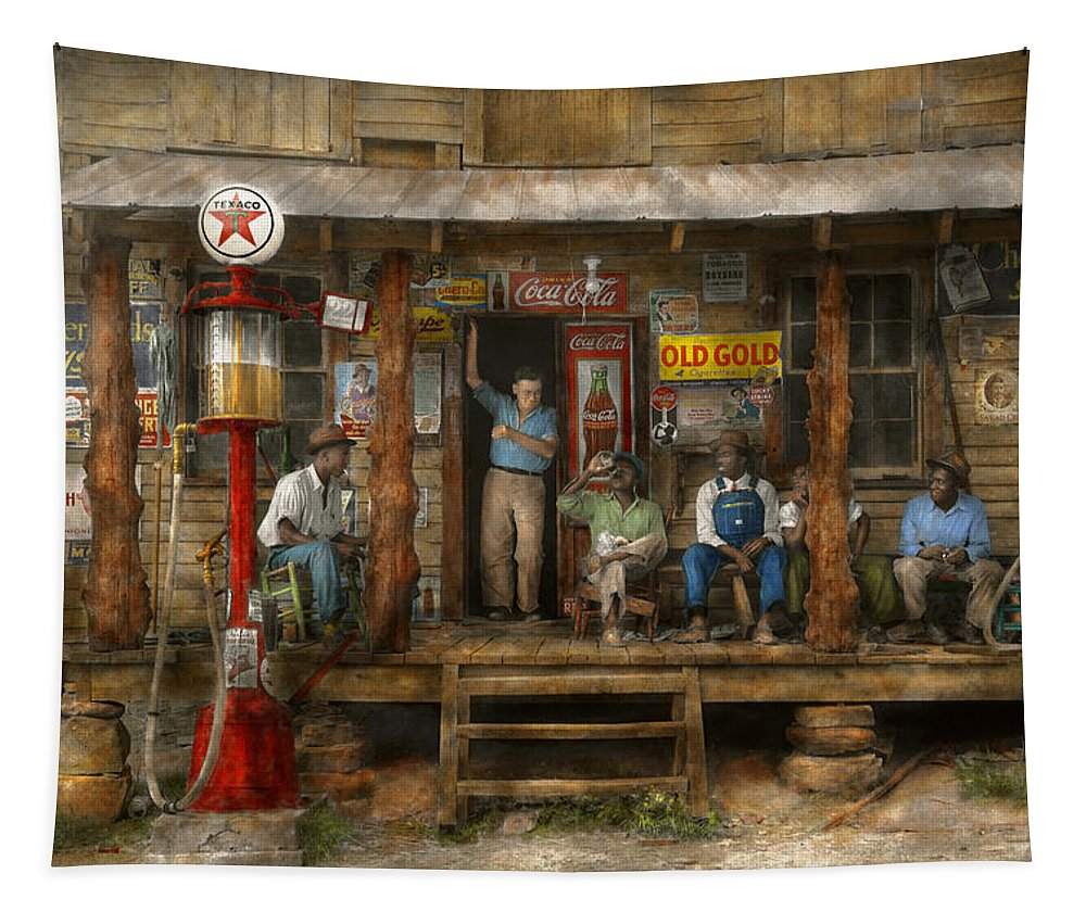 Self Tapestry featuring the photograph Gas Station - Sunday Afternoon - 1939 by Mike Savad