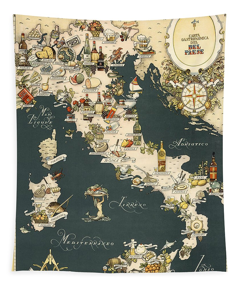 Italy Tapestry featuring the photograph Gastronomic Map of Italy 1949 by Andrew Fare