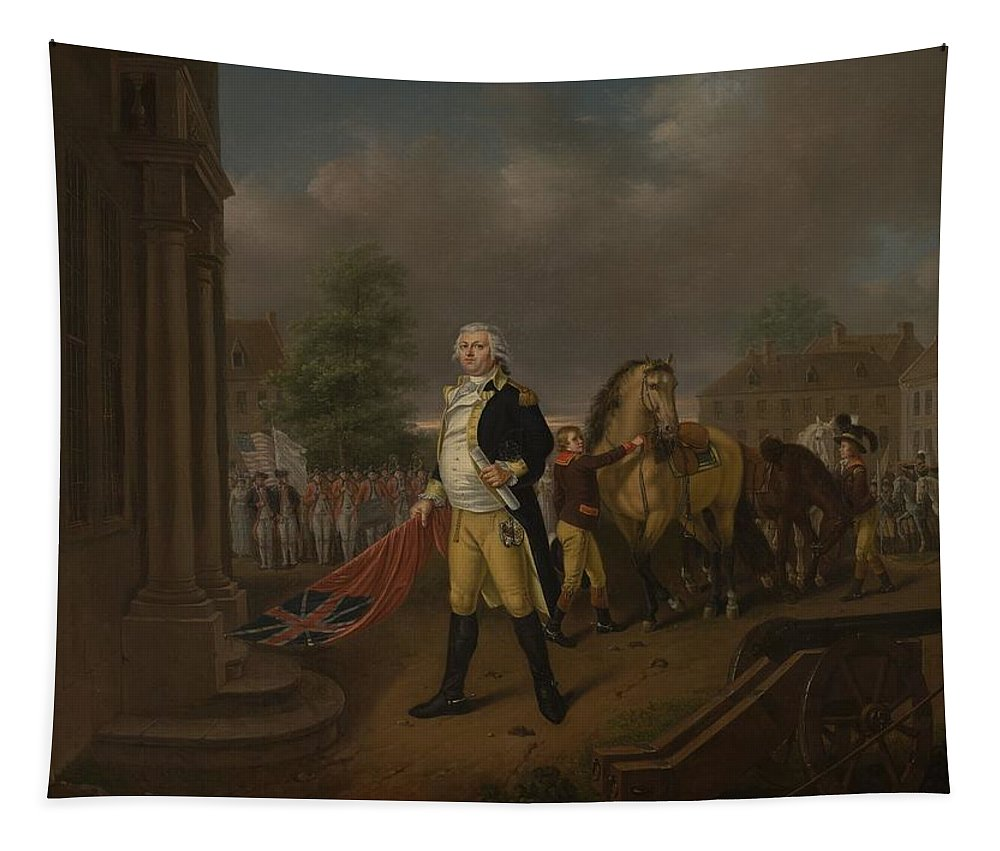 General Tapestry featuring the painting General Humphreys Delivering by Nicolas Louis Albert Delerive