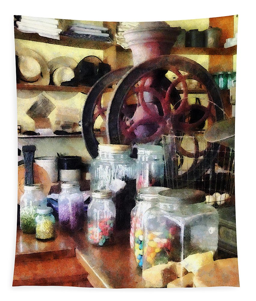 General Store Tapestry featuring the photograph General Store With Candy Jars by Susan Savad