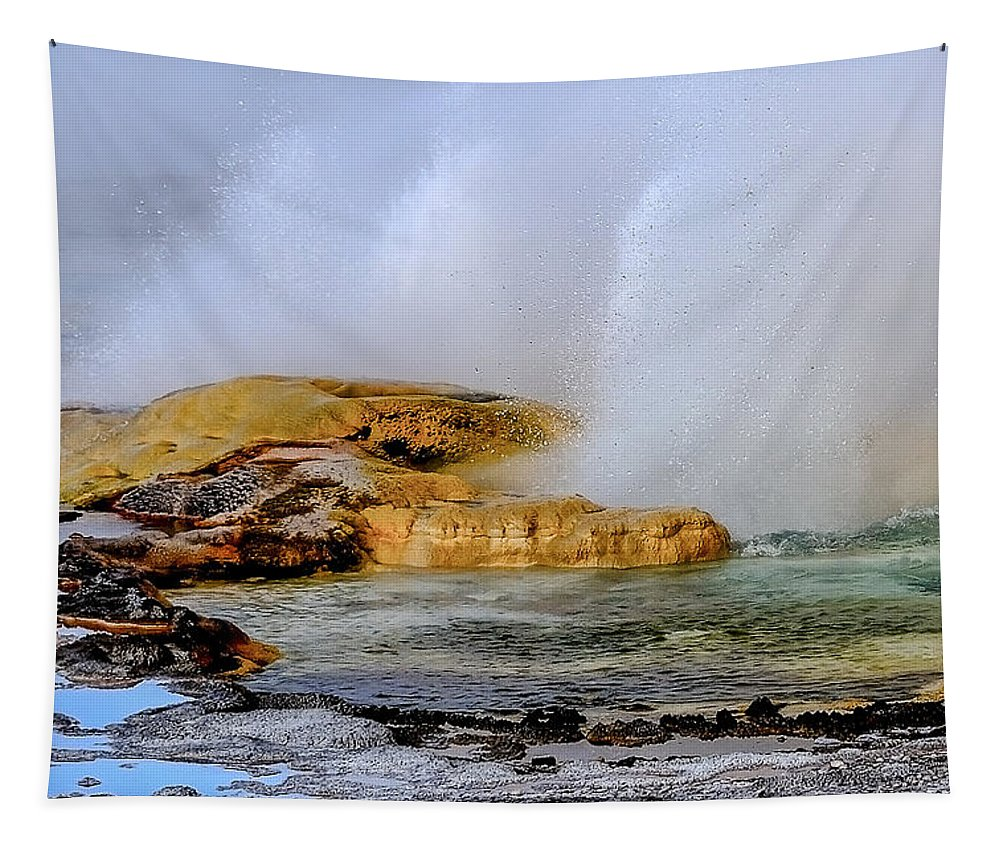 Geothermal Tapestry featuring the photograph Geothermal Geyser On Yellowstone Lake by Yeates Photography