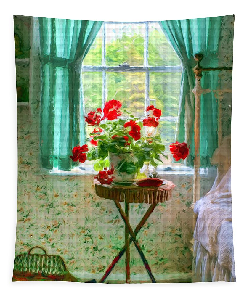 Geraniums Tapestry featuring the photograph Geraniums In The Bedroom by Nikolyn McDonald
