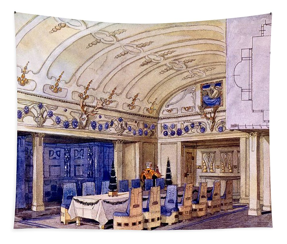 German Dining Hall Tapestry featuring the drawing German Dining Hall, Early 20th Century by Gustave Halmhuber