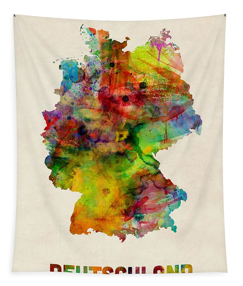 Map Art Tapestry featuring the digital art Germany Watercolor Map Deutschland by Michael Tompsett