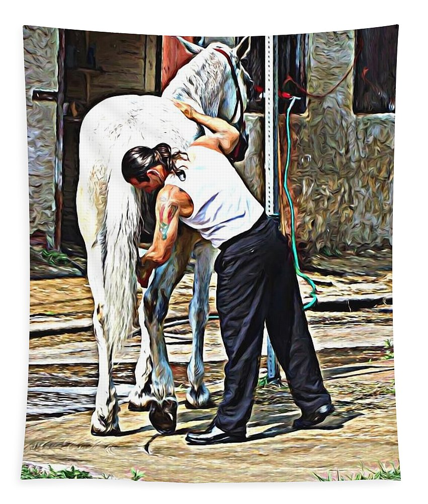 Horse Tapestry featuring the photograph Getting A Bath by Alice Gipson