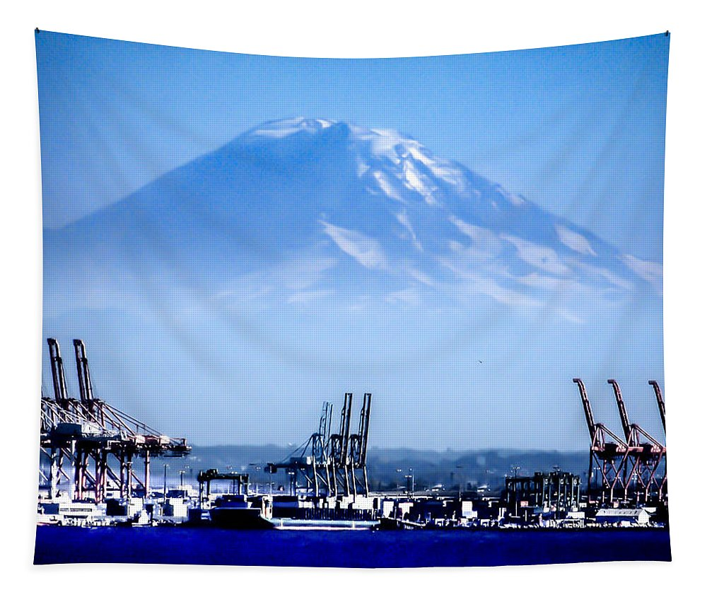 Mt. Rainier Tapestry featuring the photograph Ghost Mountain by Karen Wiles