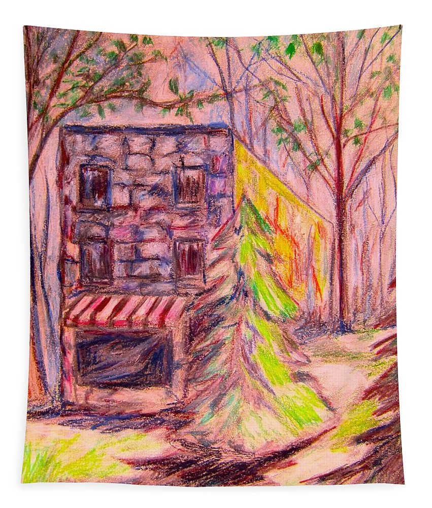 Store Tapestry featuring the drawing Ghost Store by Kendall Kessler