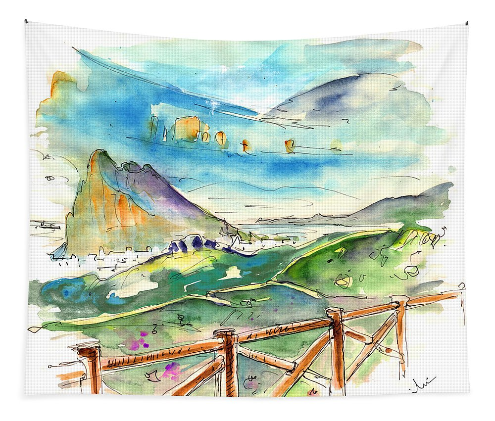 Travel Tapestry featuring the painting Gibraltar 02 by Miki De Goodaboom