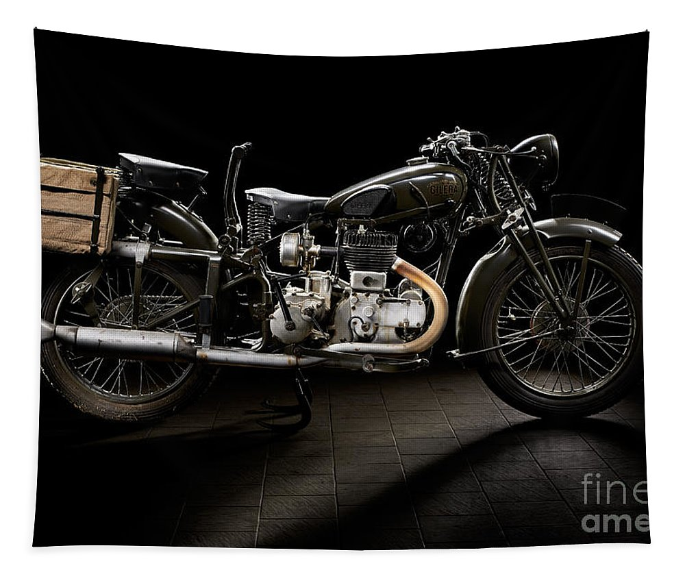 Motorcycle Tapestry featuring the photograph Gilera Vl Militare 2 by Frank Kletschkus