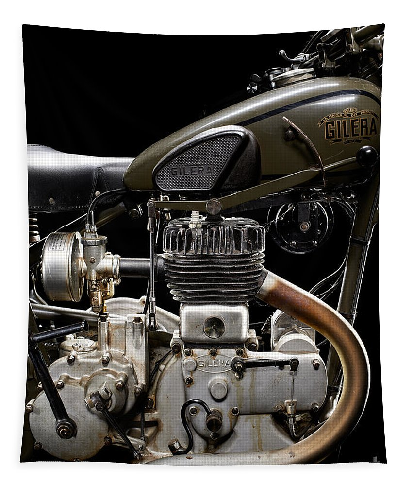 Motorcycle Tapestry featuring the photograph Gilera Vl Militare Motore 1 by Frank Kletschkus