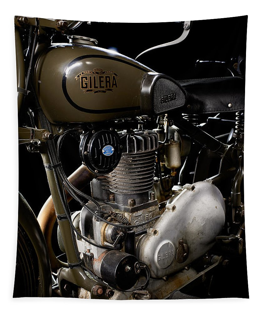 Motorcycle Tapestry featuring the photograph Gilera Vl Militare Motore 2 by Frank Kletschkus