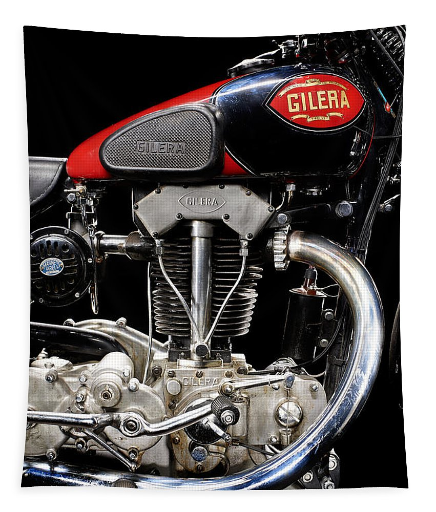 Motorcycle Tapestry featuring the photograph Gilera Vte Quattro Bulloni Motore 1 by Frank Kletschkus