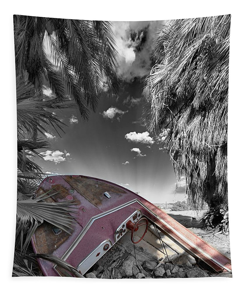 Boat Tapestry featuring the photograph Gilligans Island Black And White 2 by Scott Campbell