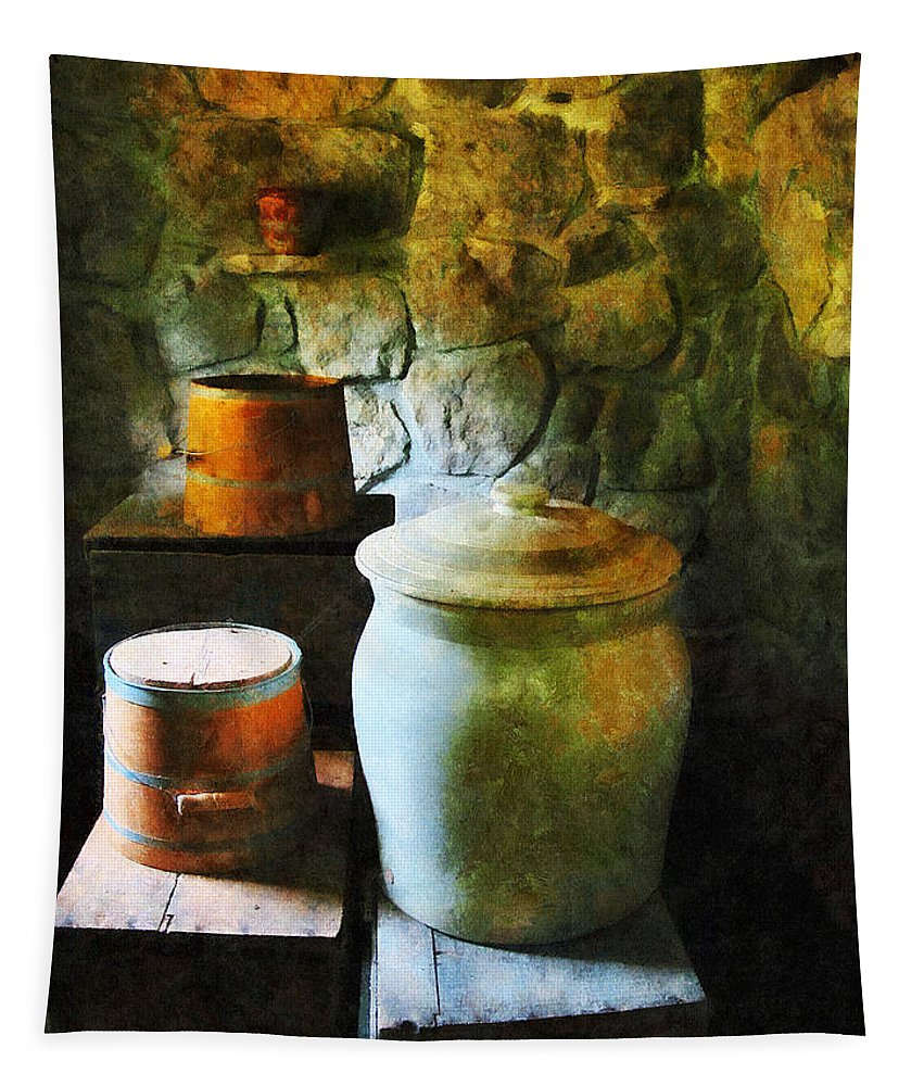 Ginger Jar Tapestry featuring the photograph Ginger Jar And Buckets by Susan Savad