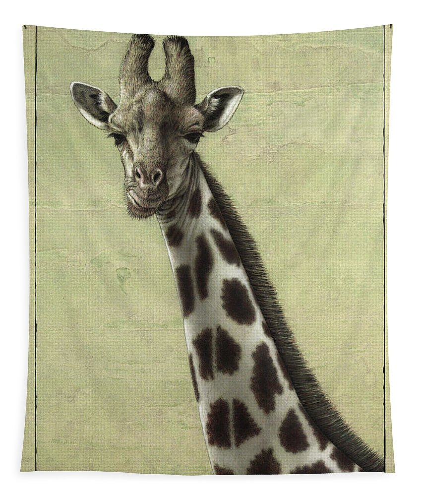 Giraffe Tapestry featuring the painting Giraffe by James W Johnson