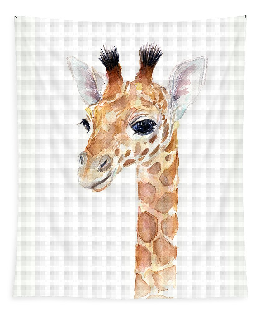 Watercolor Tapestry featuring the painting Giraffe Watercolor by Olga Shvartsur