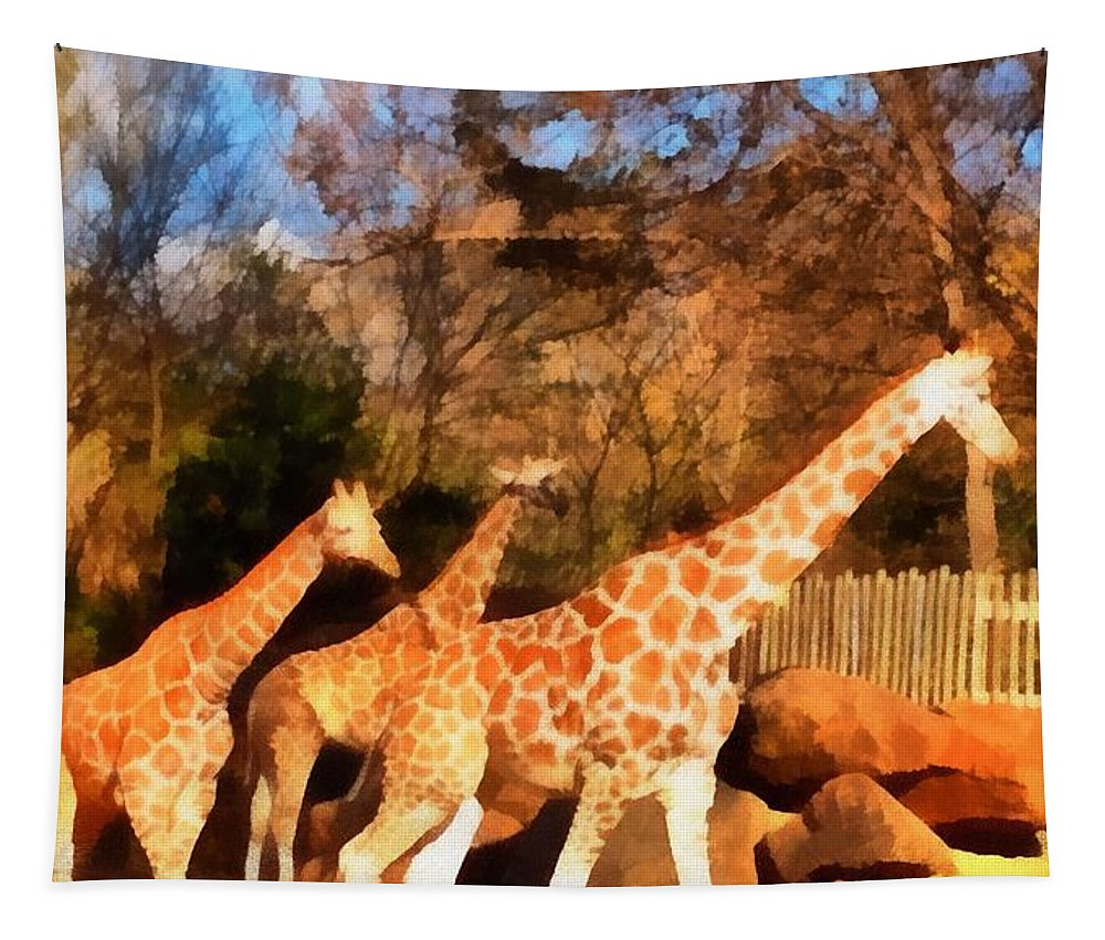 Giraffes At The Zoo Tapestry featuring the painting Giraffes At The Zoo by Dan Sproul