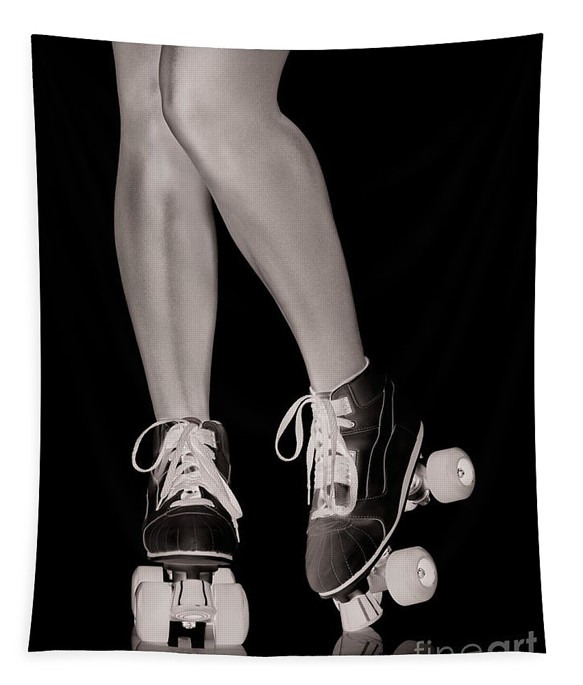 Roller Skates Tapestry featuring the photograph Girl Legs In Roller Skates Artistic Concept by Oleksiy Maksymenko