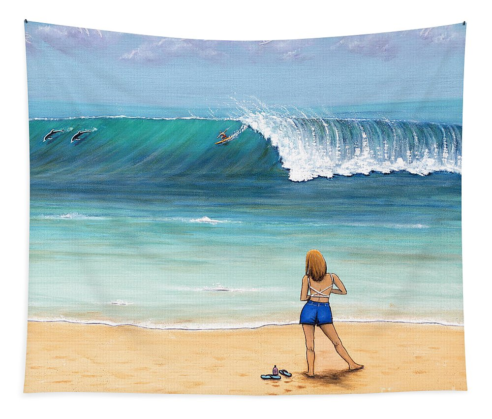 Beach Tapestry featuring the painting Girl On Surfer Beach by Jerome Stumphauzer