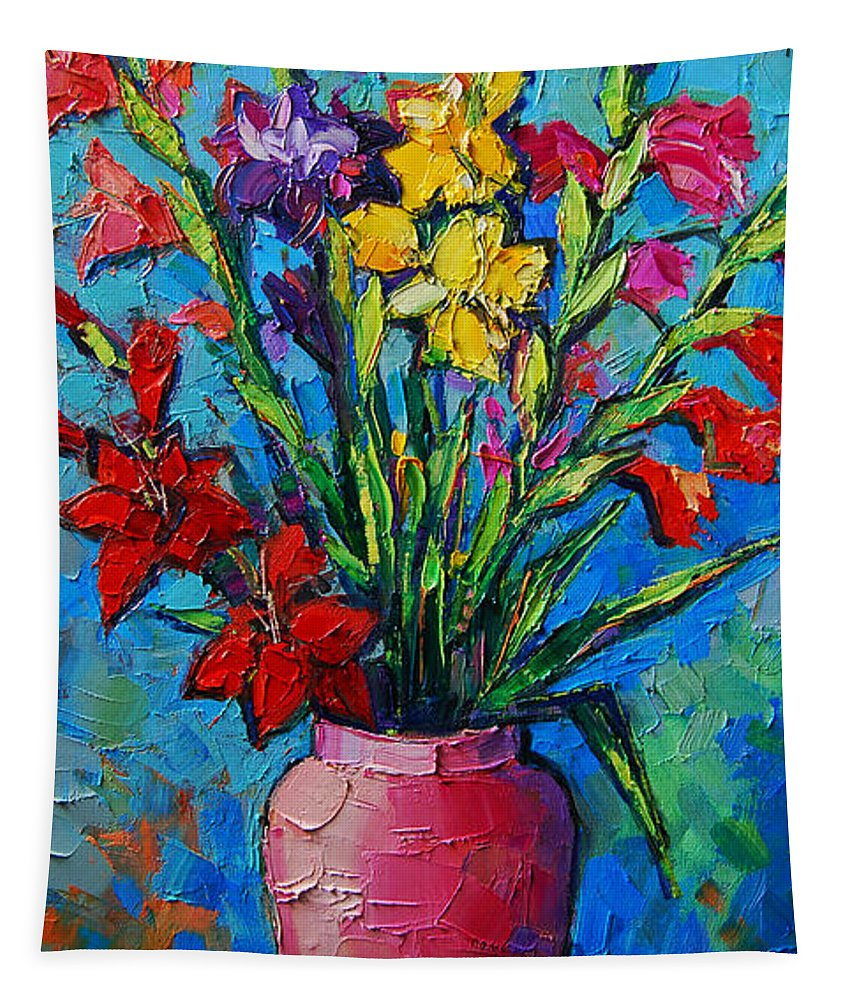 Gladioli In A Vase Tapestry featuring the painting Gladioli In A Vase by Mona Edulesco
