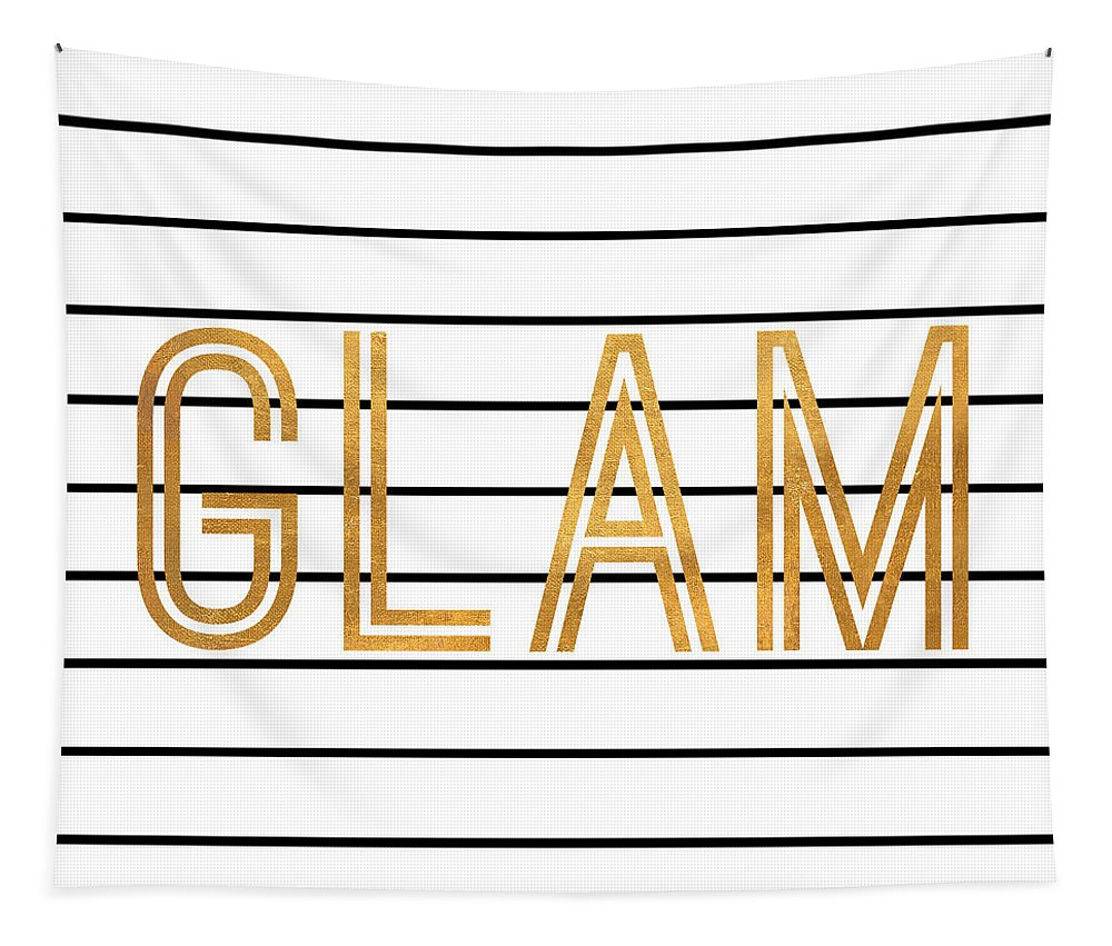 Glam Tapestry featuring the digital art Glam Pinstripe Gold by South Social Studio
