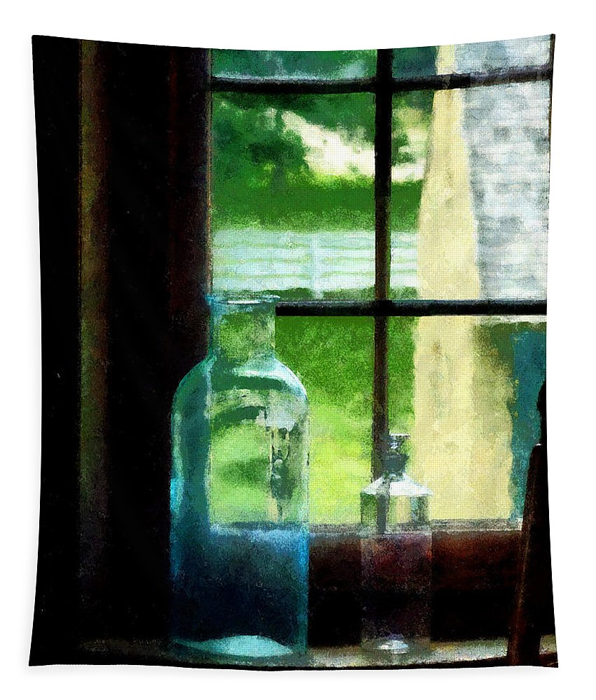 Bottles Tapestry featuring the photograph Glass Bottles On Windowsill by Susan Savad