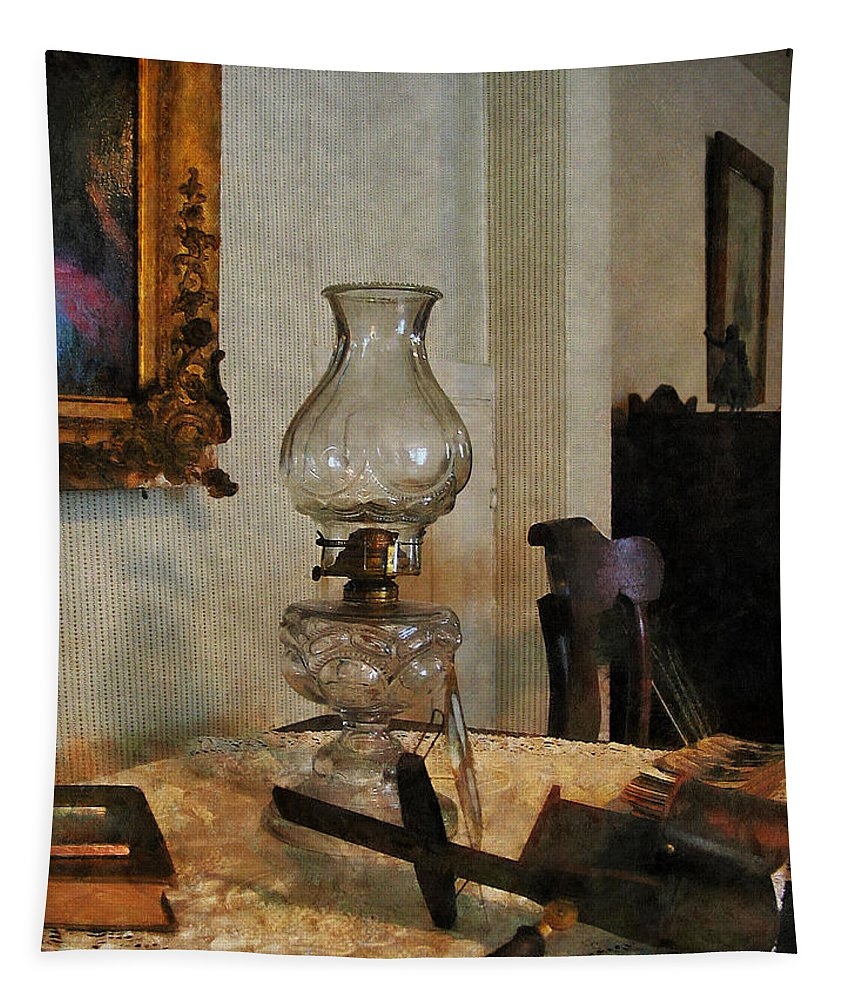 Lamp Tapestry featuring the photograph Glass Lamp And Stereopticon by Susan Savad