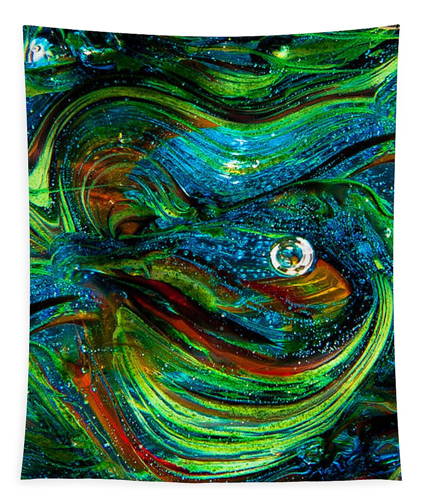 Glass Tapestry featuring the photograph Glass Macro Abstract 13e7a by David Patterson