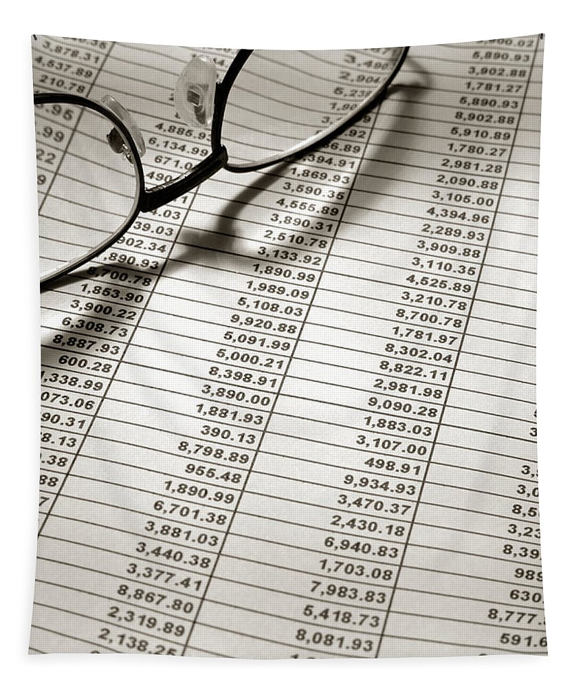 Account Tapestry featuring the photograph Glasses On Spreadsheet by Olivier Le Queinec