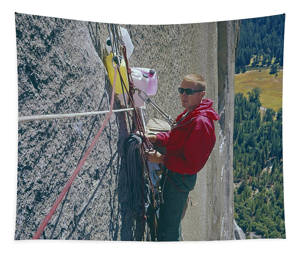Glen Denny Tapestry featuring the photograph T-306607-glen Denny With Me On El Cap First Ascent 1962 by Ed Cooper Photography