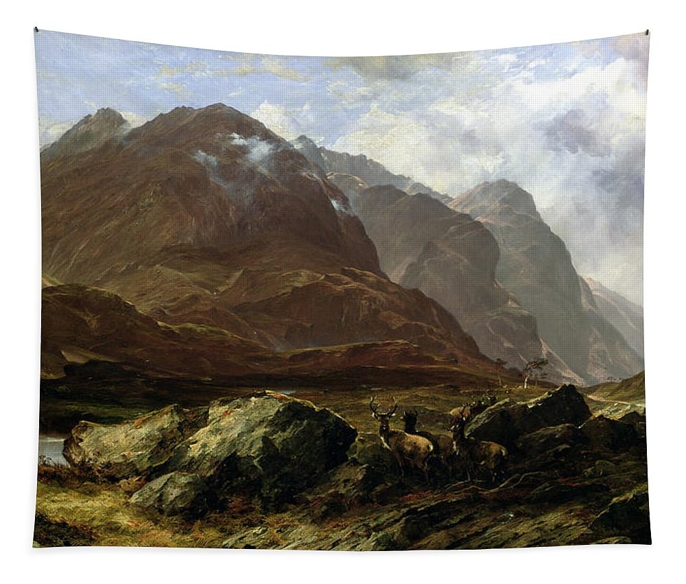 Scottish Landscape Tapestry featuring the painting Glencoe, 1864 by Horatio McCulloch
