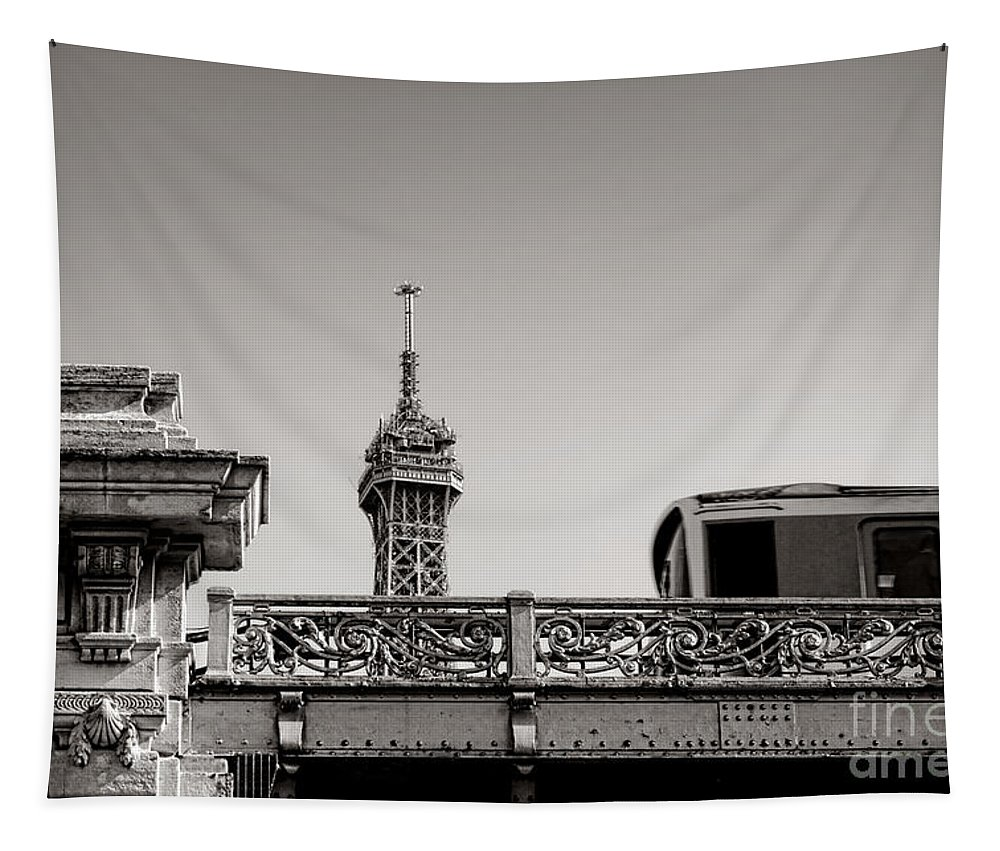 Eiffel Tapestry featuring the photograph Glimpse by Olivier Le Queinec