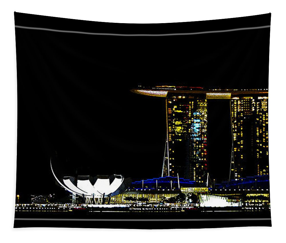 Singapore Tapestry featuring the photograph Gloden Night by Ben Yassa