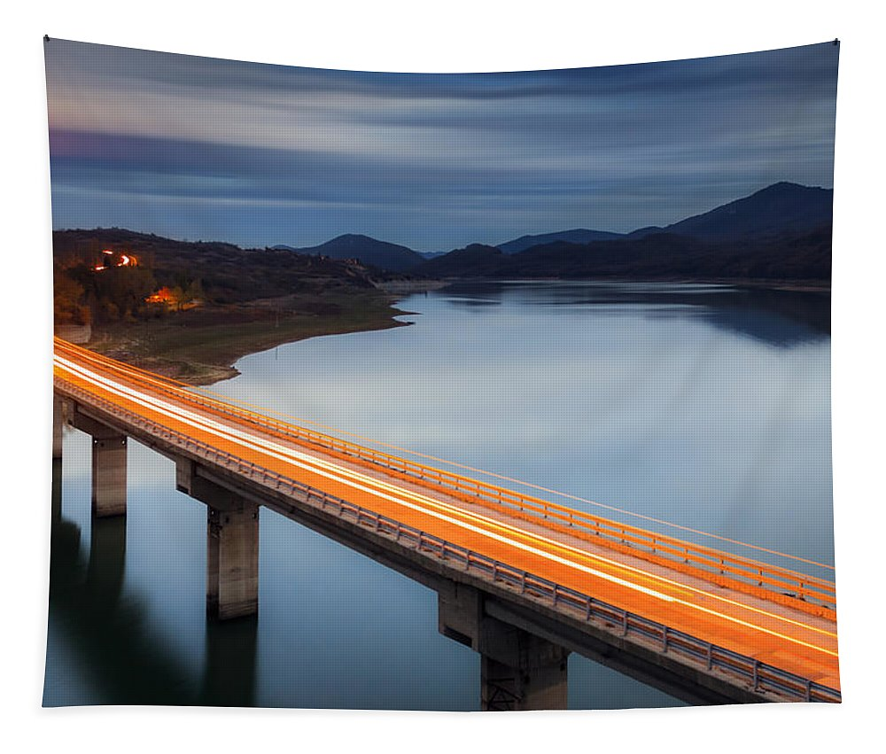 Bulgaria Tapestry featuring the photograph Glowing Bridge by Evgeni Dinev