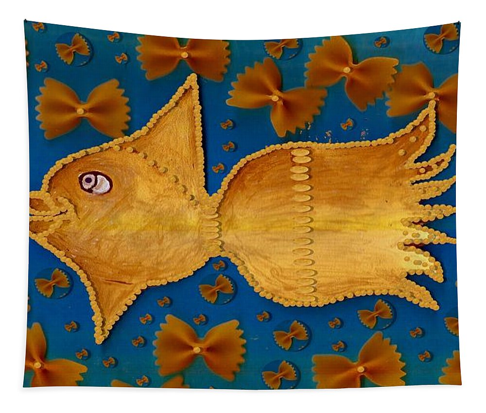 Goldfish Tapestry featuring the mixed media Glowing Gold Fish by Pepita Selles